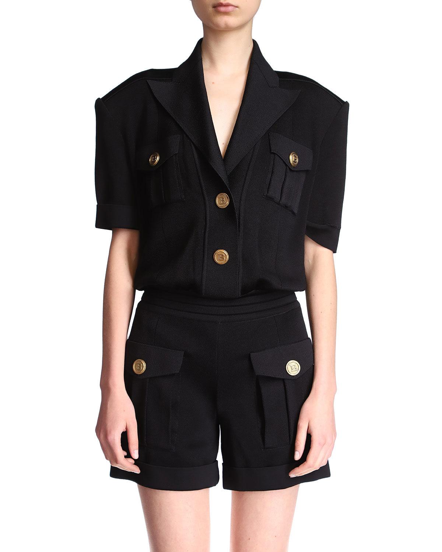 Balmain Short-Sleeve Peak-Lapel Knit Playsuit - Size: 40 FR (8 US)
