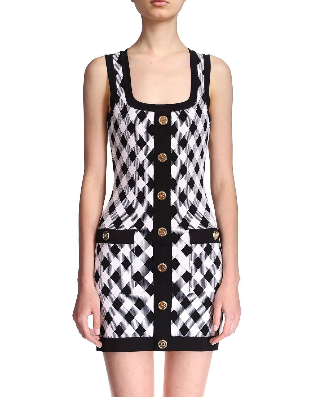 Balmain Short Buttoned Gingham Jacquard Dress - Size: 44 FR (12 US)