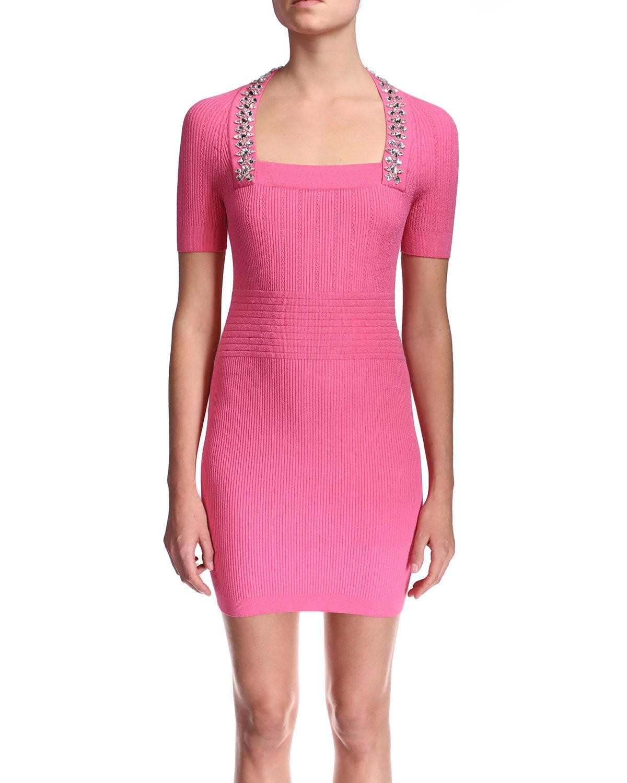 Balmain Short-Sleeve Embroidered Knit Dress - Size: 40 FR (8 US)