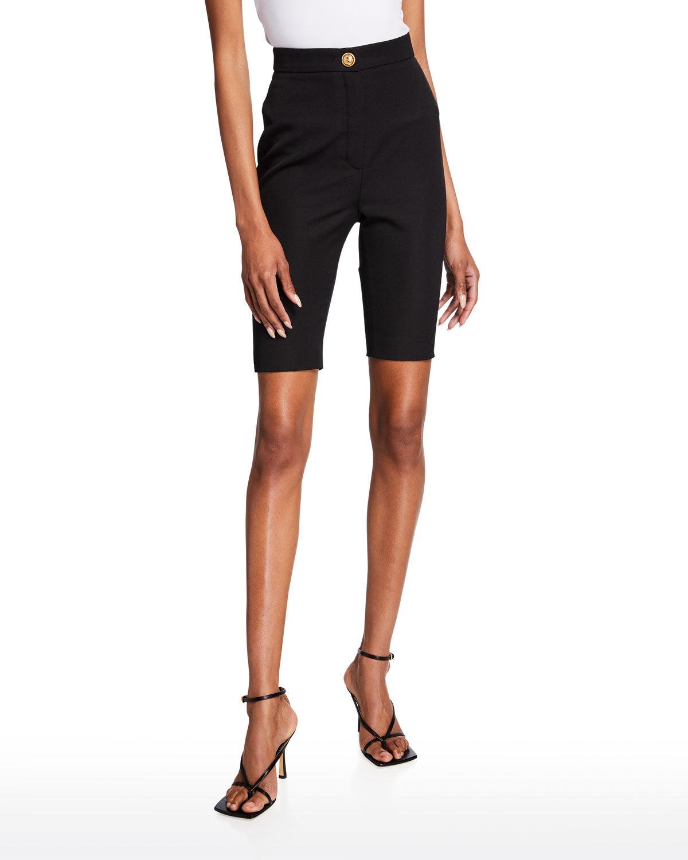 Balmain High-Rise Wool Bike Shorts - Size: 44 FR (12 US)