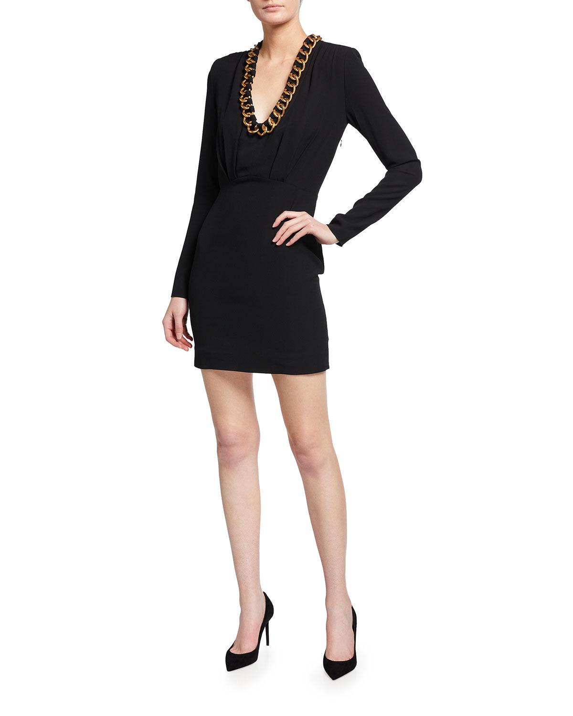 Givenchy Chain Collar Long-Sleeve Mini Dress - Size: 44 FR (12 US)