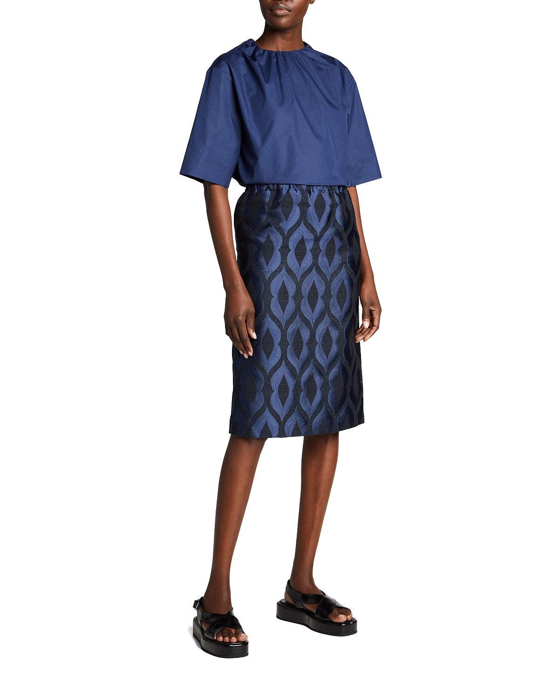 Marni Short Sleeve Puckered Crewneck Blouse - Size: 44 IT (8 US)
