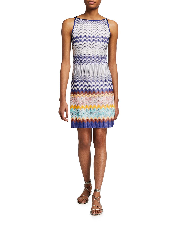 Short Zigzag Knit Shift Dress - Size: 42 IT (6 US)
