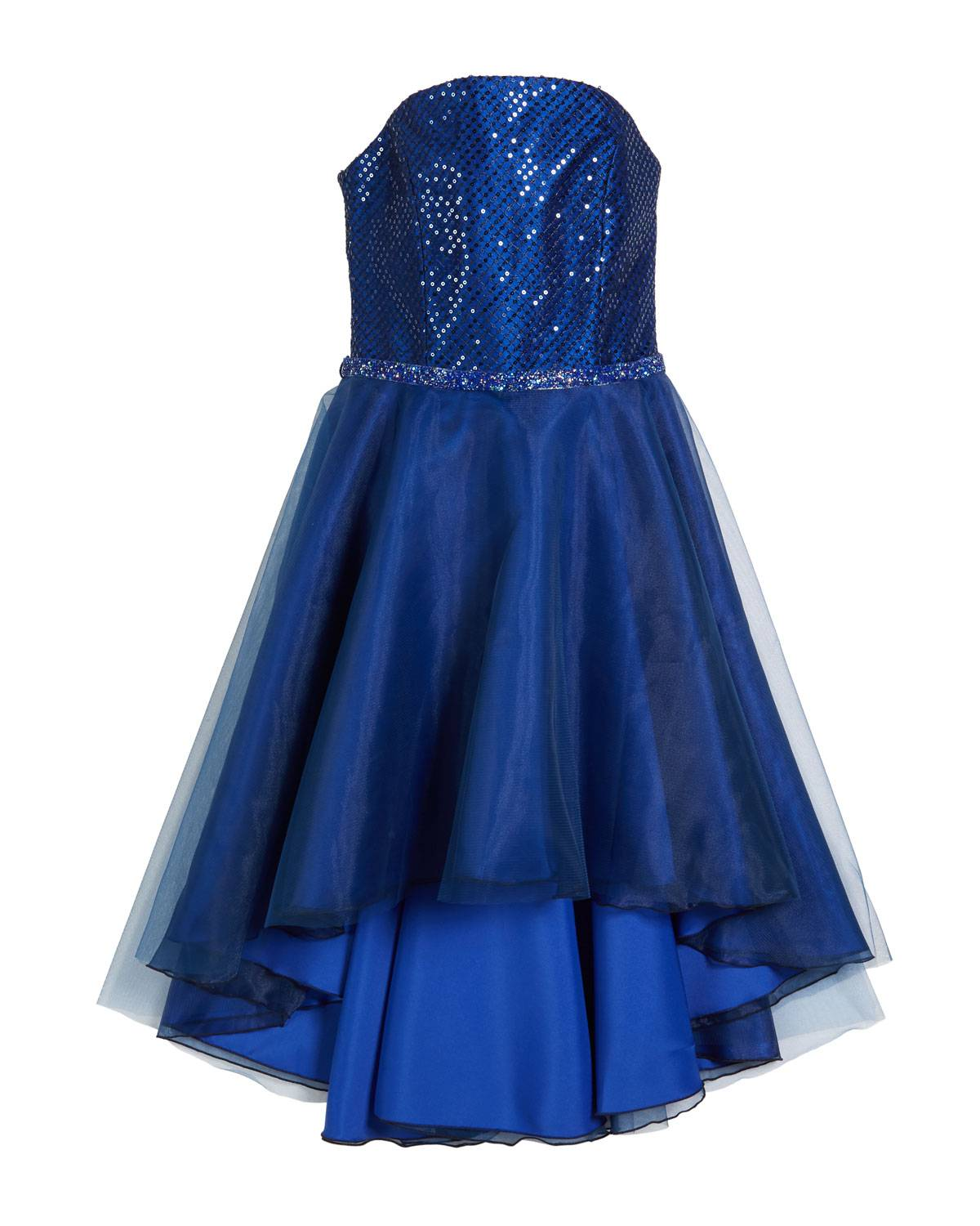 Zoe Sequin Embroidered & Organza High-Low Dress, Size 7-16