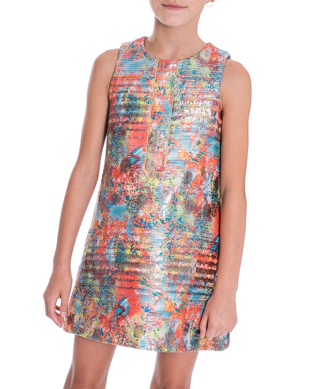 Zoe Sienna Garden Woven Metallic Jacquard Shift Dress, Size 7-16