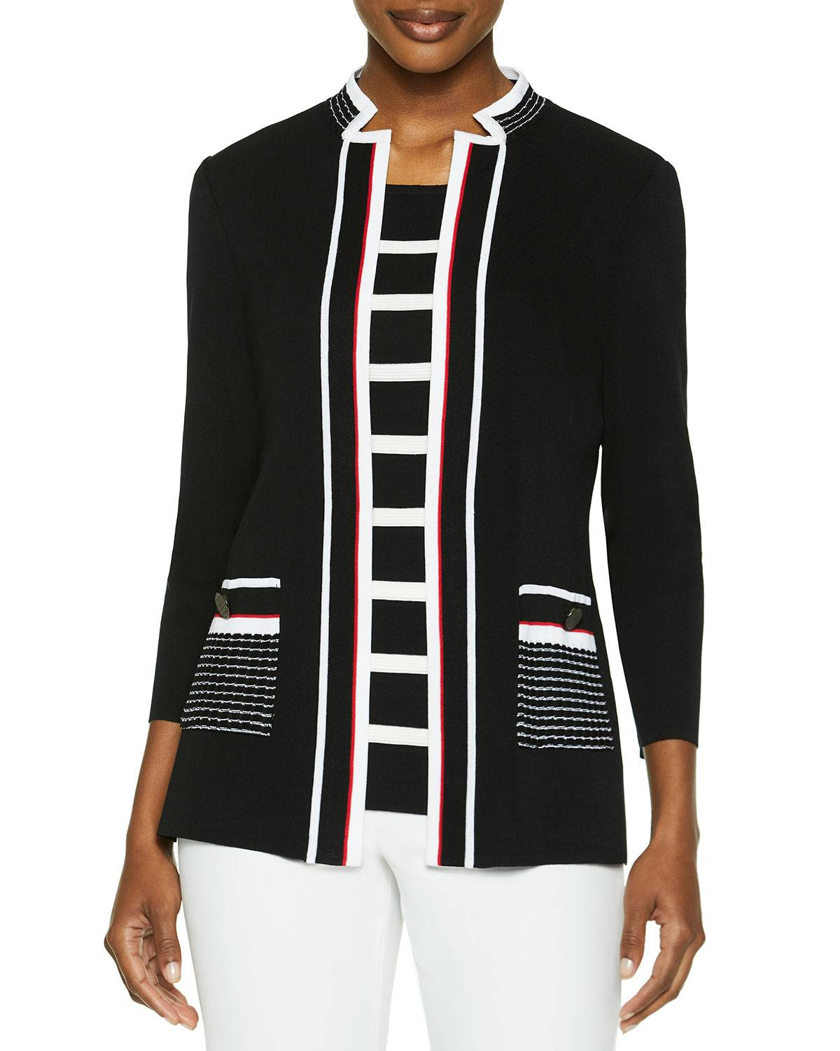 Misook Knit Jacket with Contrast Pockets - Size: Large