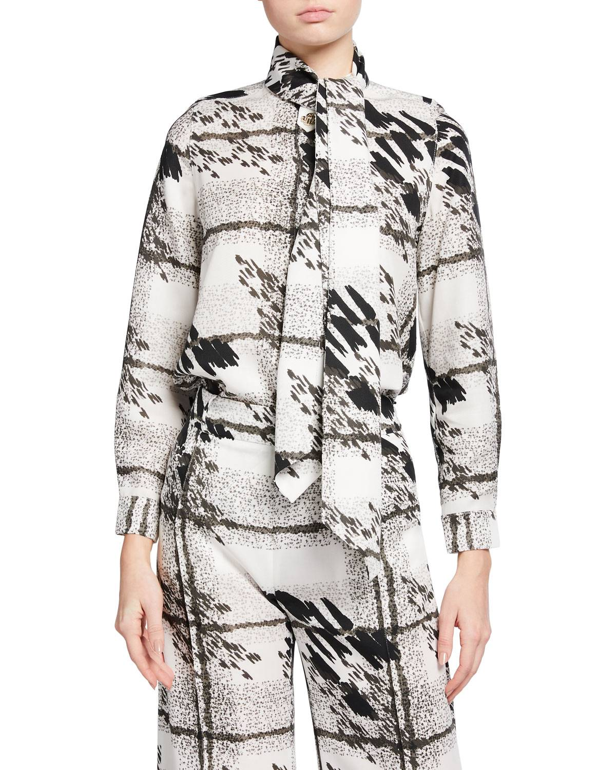 Pearl Printed Blouse with Neck Scarf - Size: 6 UK (2 US)
