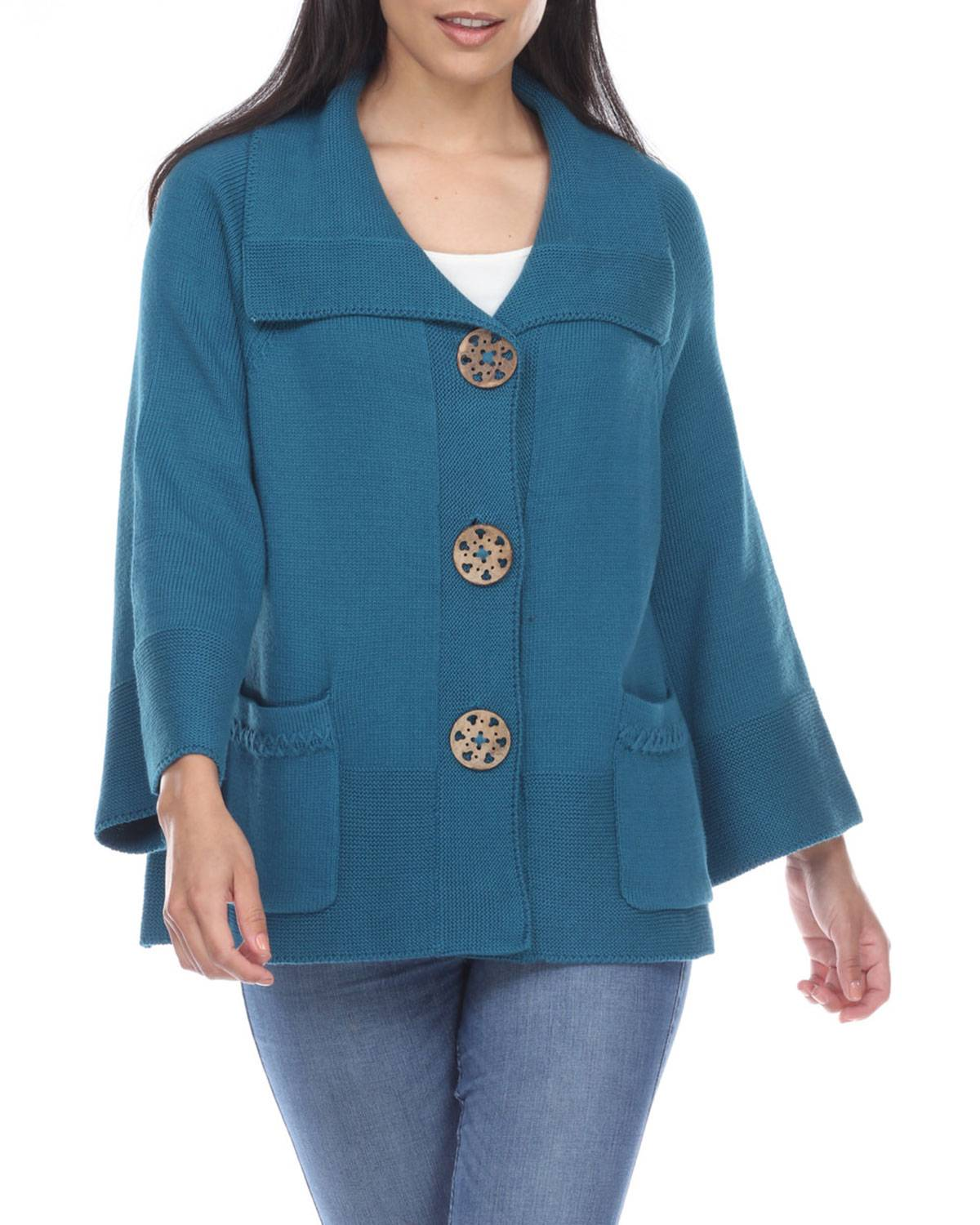 Neon Buddha Right At Home Cardigan, Peacock - Size: Large