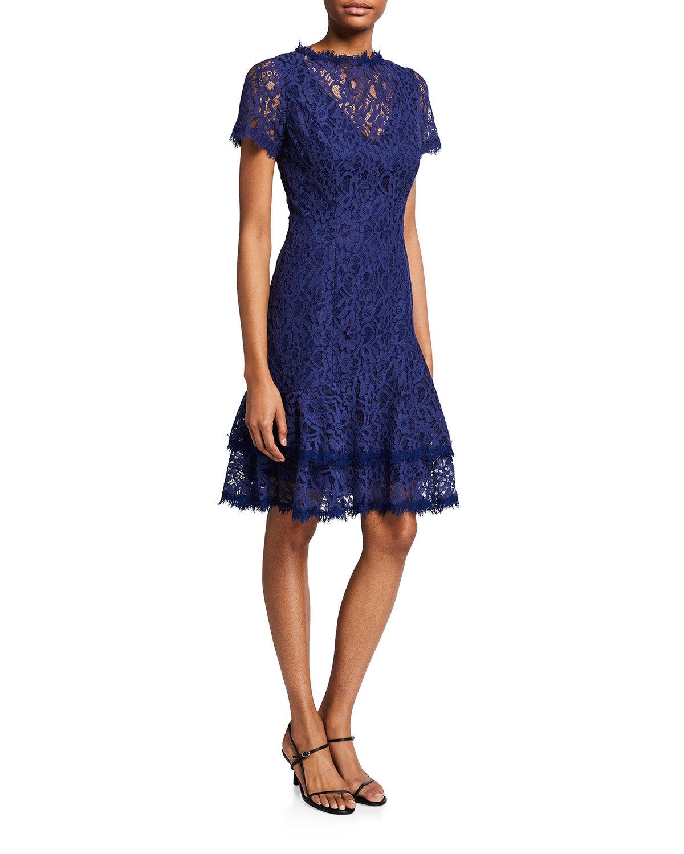 Shani Short-Sleeve Lace Dress w/ Double Ruffled Hem - Size: 16