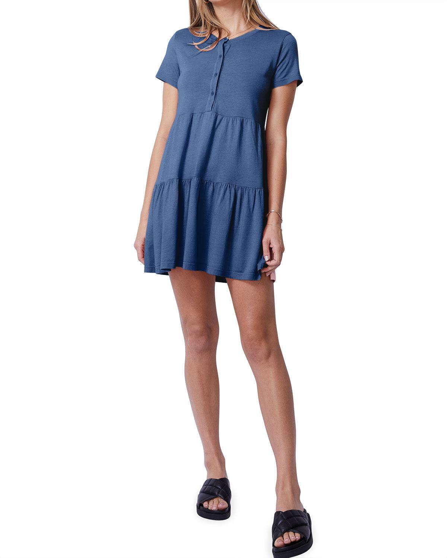 Monrow Short-Sleeve Henley Ruffle Dress - Size: Large