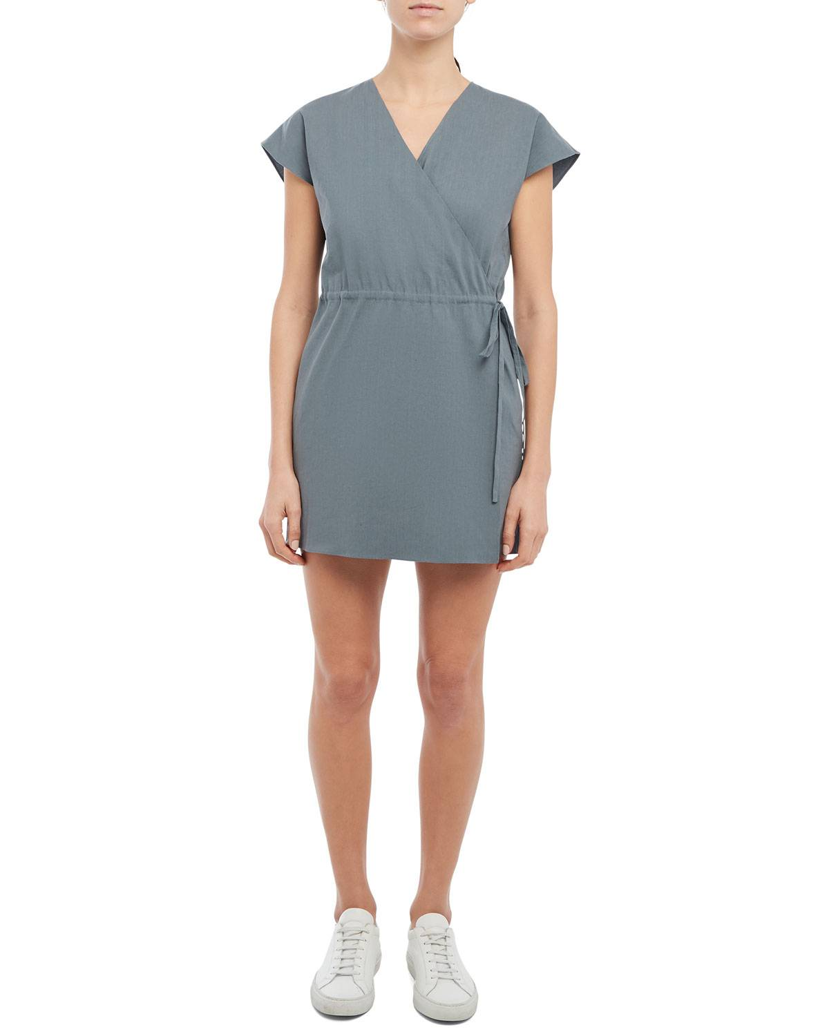 Theory Short-Sleeve Wrap Romper - Size: 2