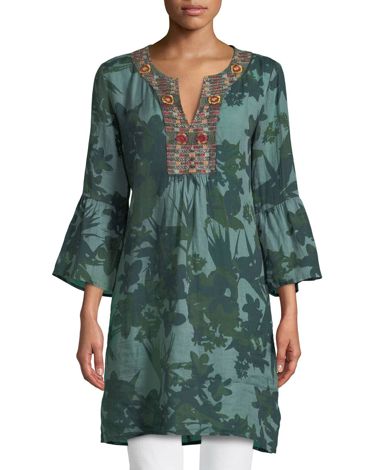Johnny Was WOMENS FLARE SLEEVE TUNIC DR