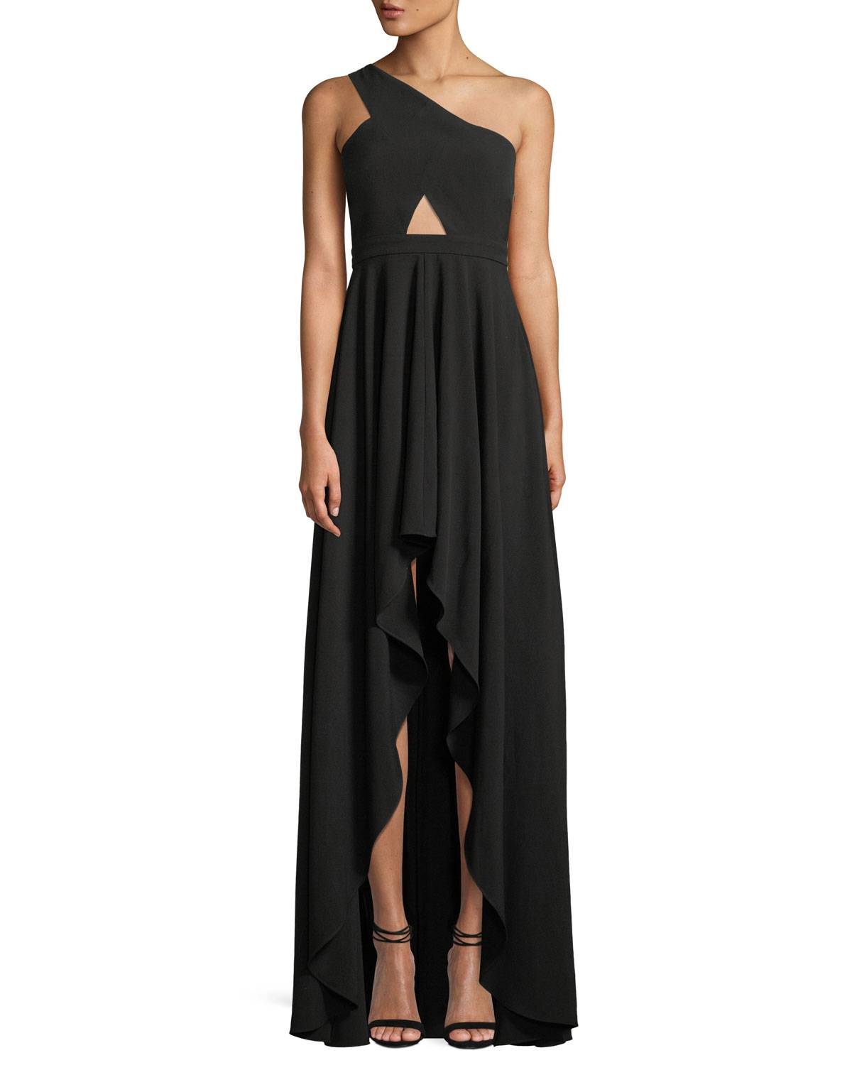 Fame and Partners The Zaylee One-Shoulder Cutout-Waist High-Low Formal Gown Dress