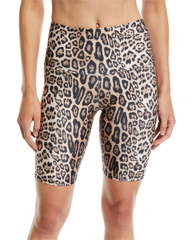 Onzie High-Rise Leopard-Print Activewear Bike Shorts - Size: Medium