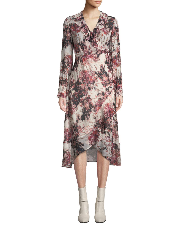 Iro Garden Surplice Long-Sleeve Printed Wrap Dress