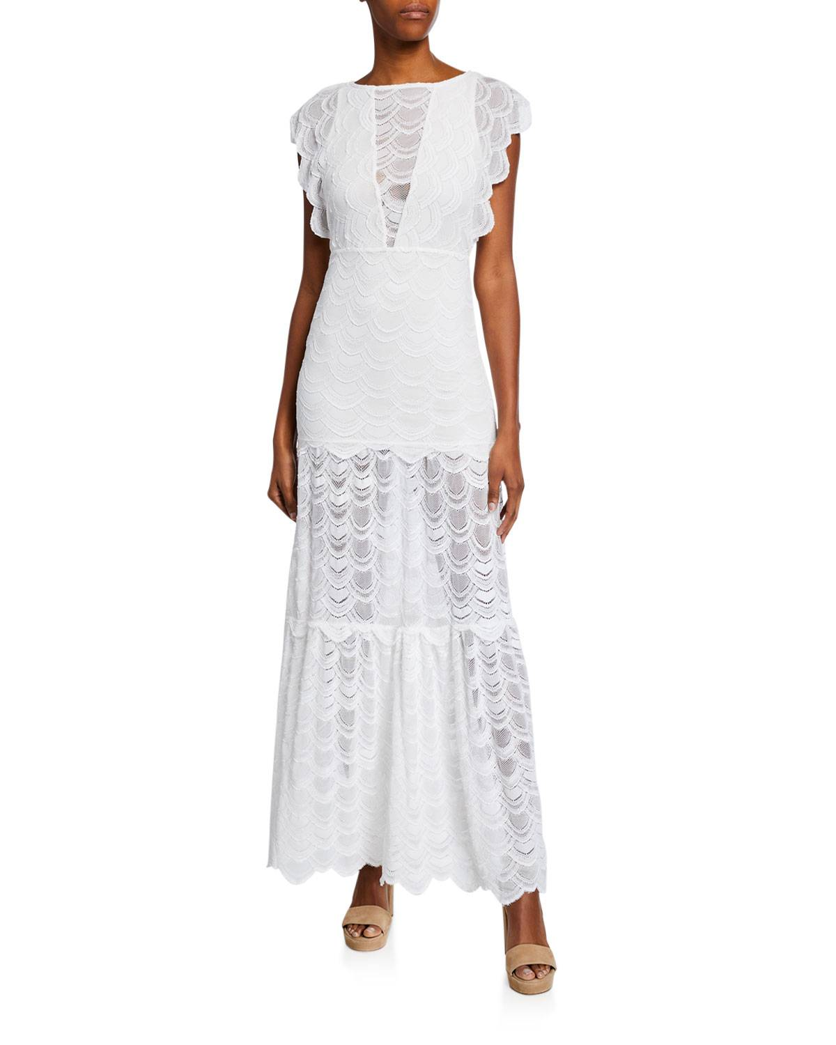 Nightcap Clothing Caletto Victorian Stretch-Lace Maxi Dress