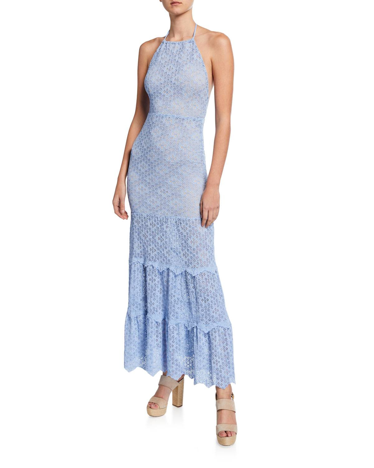 Nightcap Clothing Diamond-Lace Tiered Halter Gown