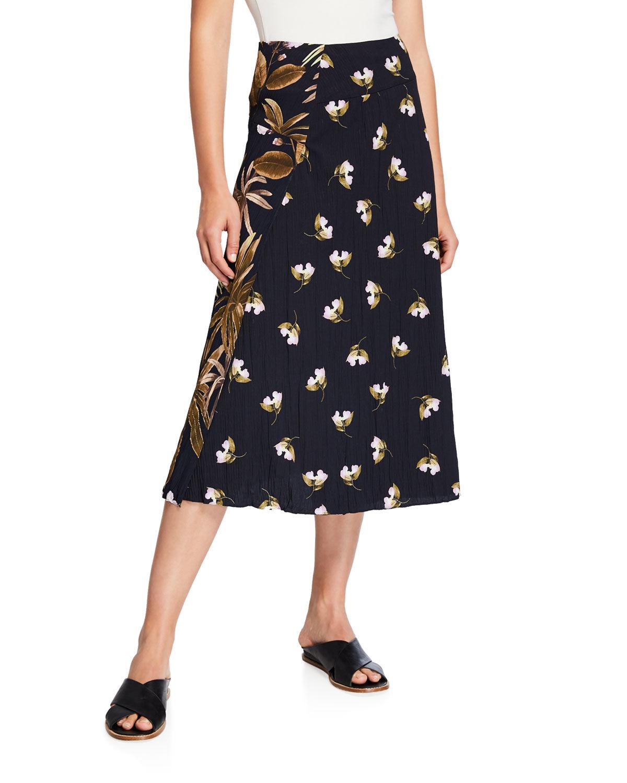 Vince Mixed Tropical Garden A-Line Midi Skirt