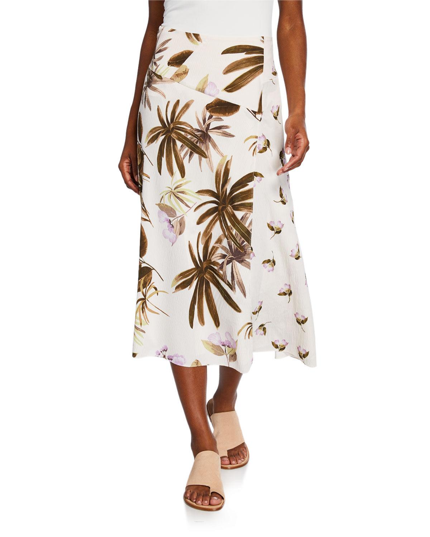 Vince Mixed Tropical Garden Midi Skirt