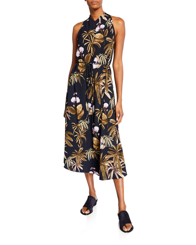 Vince Mixed Tropical Garden Halter Dress - Size: Small