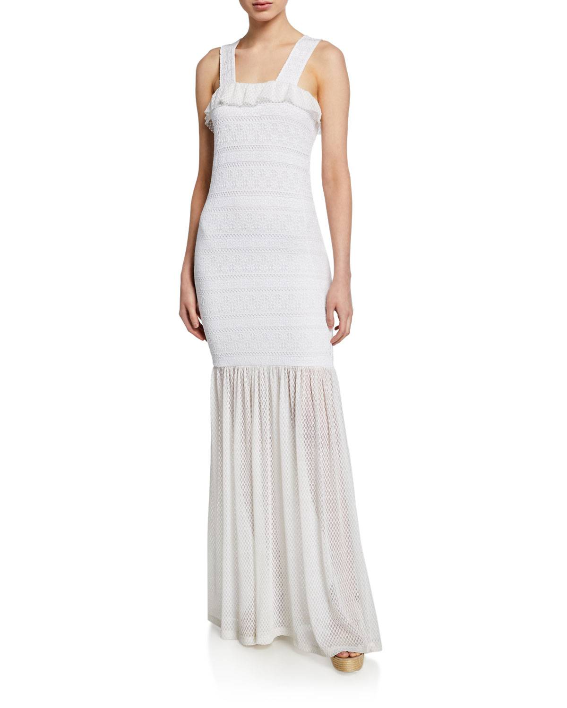 Nightcap Clothing Starlit Stripe Stretch-Lace Sleeveless Maxi Dress