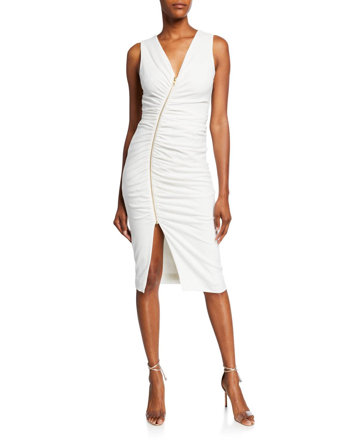 Dress The Population Ivy Shirred V-Neck Sleeveless Asymmetric Zip-Front Dress