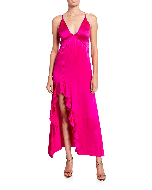 Nightcap Clothing Getaway V-Neck Cross-Back Satin Slip Dress w/ Ruffled Slit