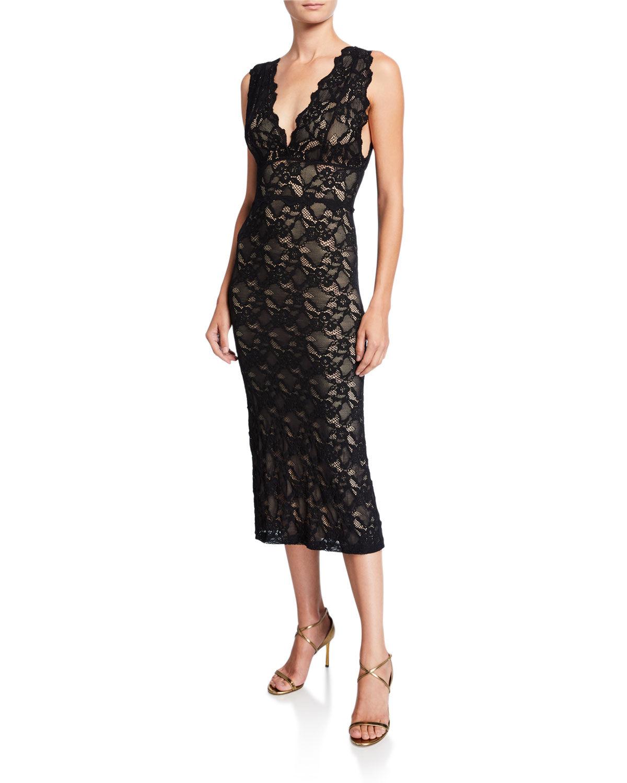 Nightcap Clothing Wisteria V-Neck Sleeveless Lace Midi Dress