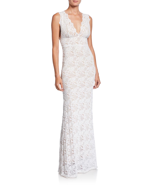 Nightcap Clothing Perfect Plunge-Neck Sleeveless Lace Maxi Dress