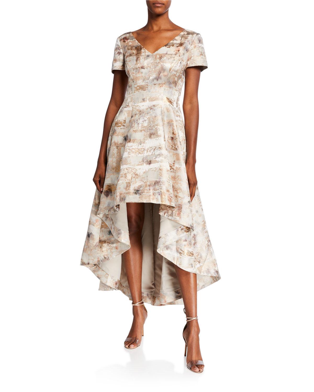 Shani Short-Sleeve High-Low Jacquard Dress - Size: 12