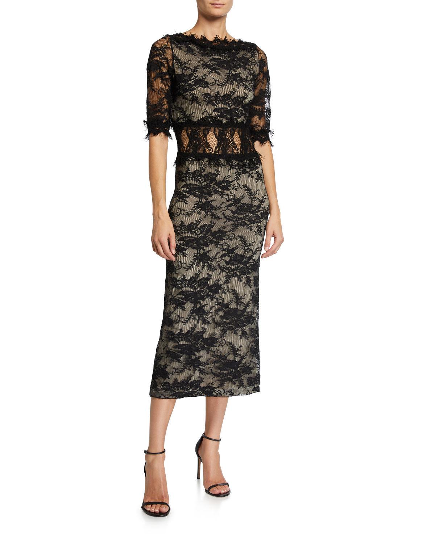 Nightcap Clothing Fiora Mock-Neck Open-Back Sleeveless Lace Cocktail Dress