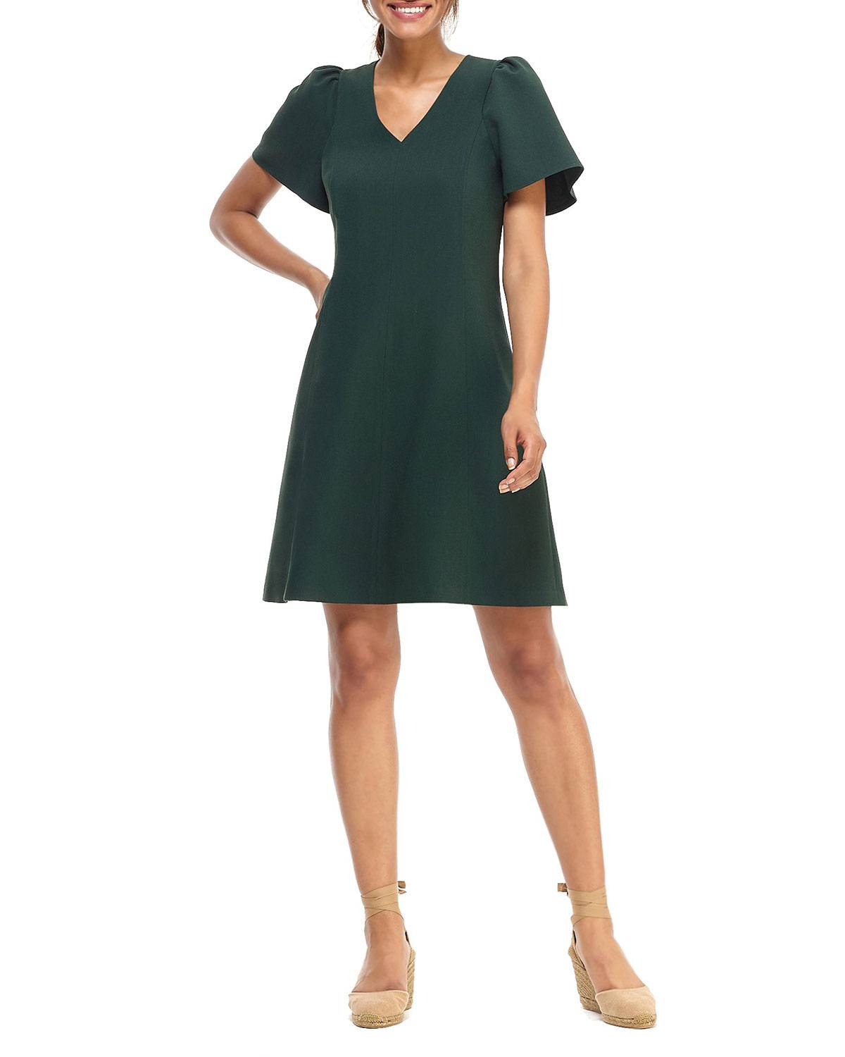 Gal Meets Glam Collection V-Neck Ruffle-Sleeve Box Weave Crepe Dress