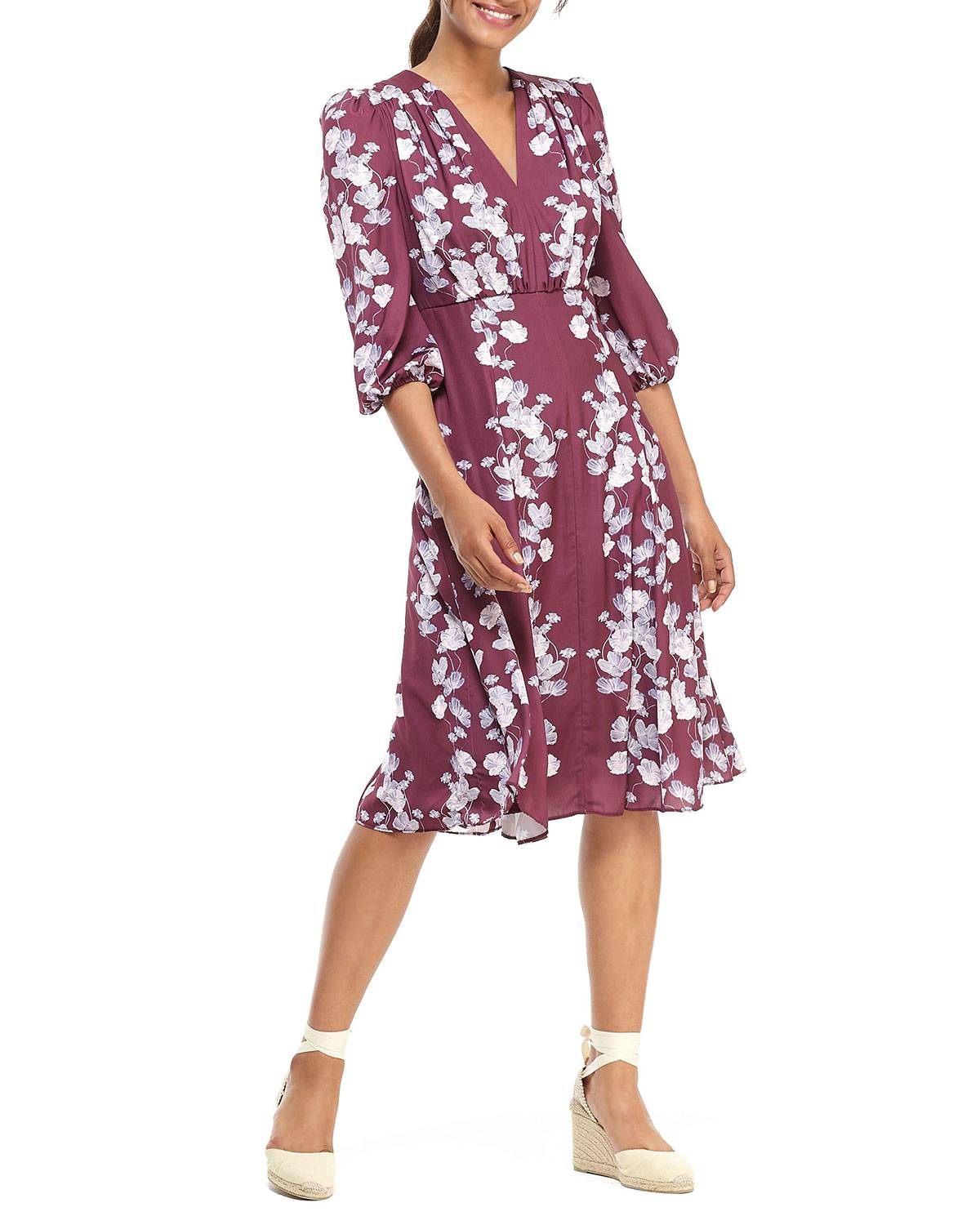 Gal Meets Glam Collection Pansy Ribbons V-Neck 3/4-Sleeve Fit-and-Flare Dress