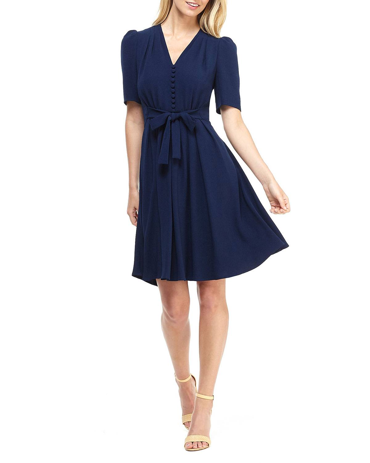 Gal Meets Glam Collection City Crepe V-Neck Elbow-Sleeve Tie-Waist Fit-&-Flare; Dress