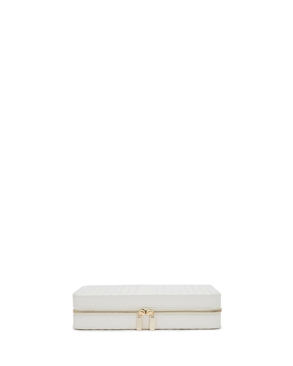 WOLF Maria Large Quilted Zip Jewelry Case - WHITE