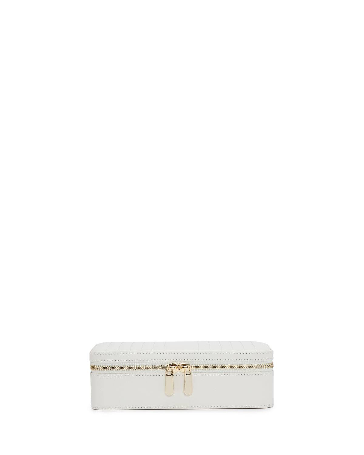 WOLF Maria Rectangle Quilted Zip Jewelry Case - WHITE