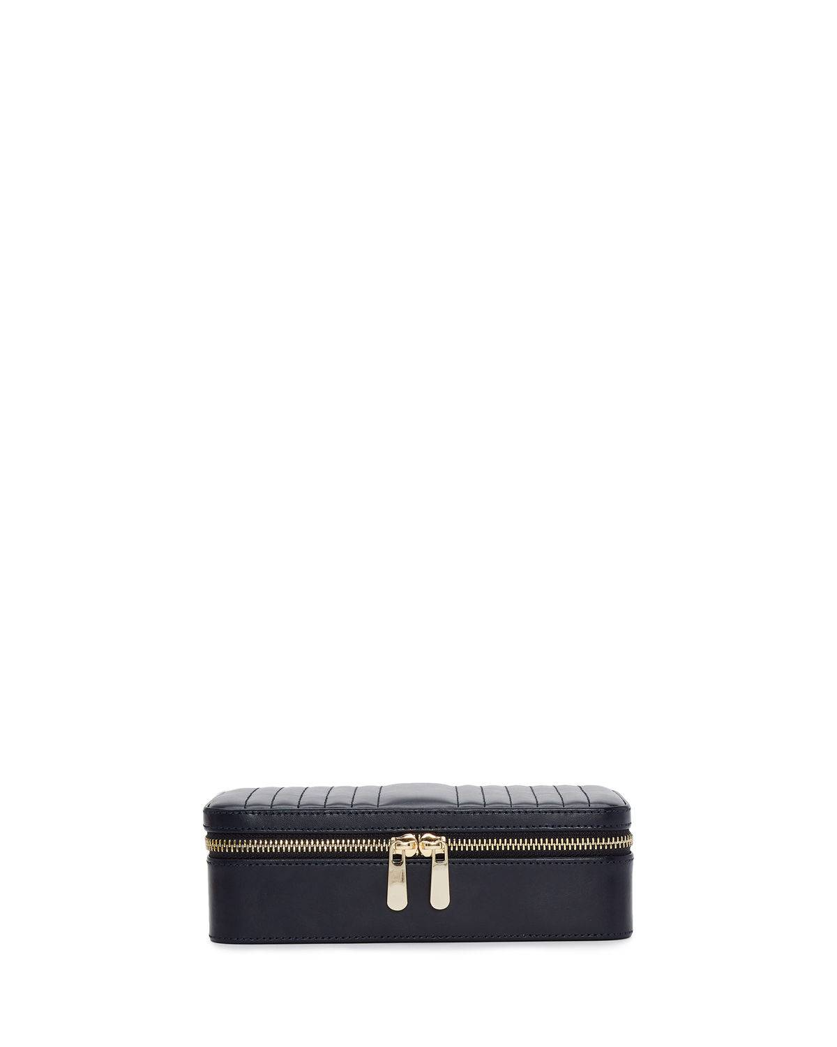 WOLF Maria Rectangle Quilted Zip Jewelry Case - NAVY