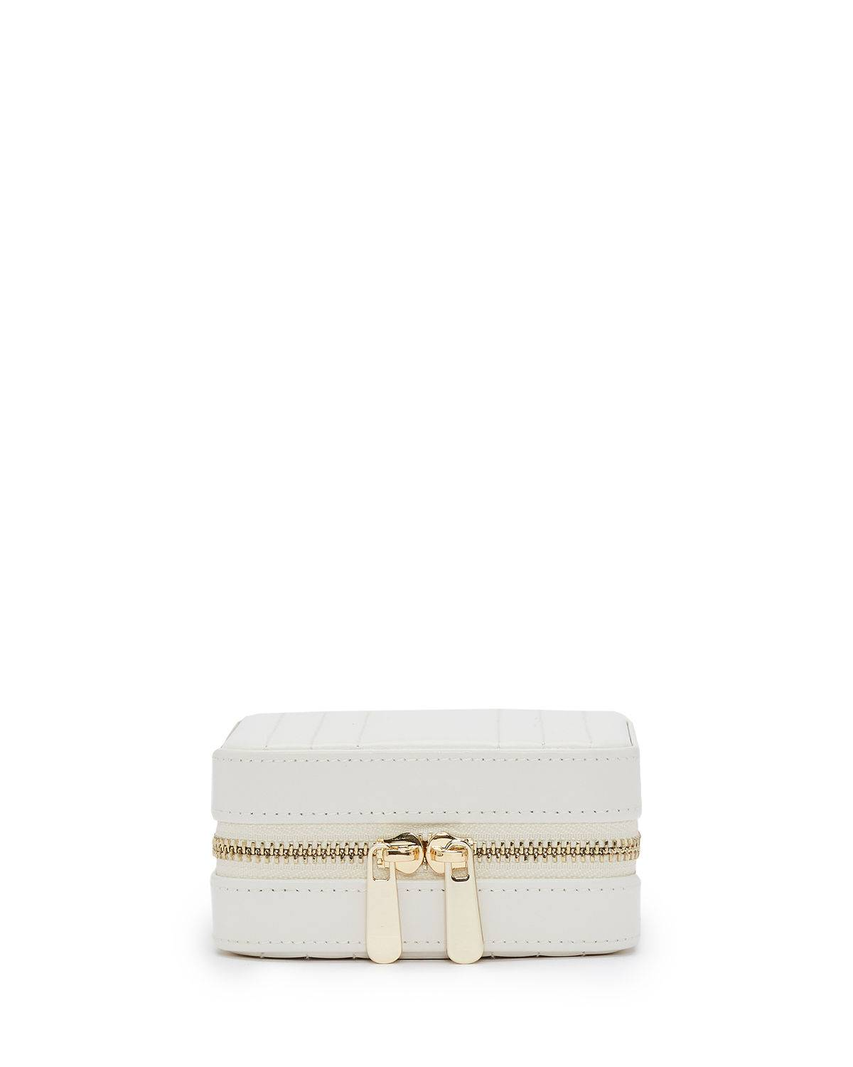 WOLF Maria Square Quilted Zip Jewelry Case - WHITE