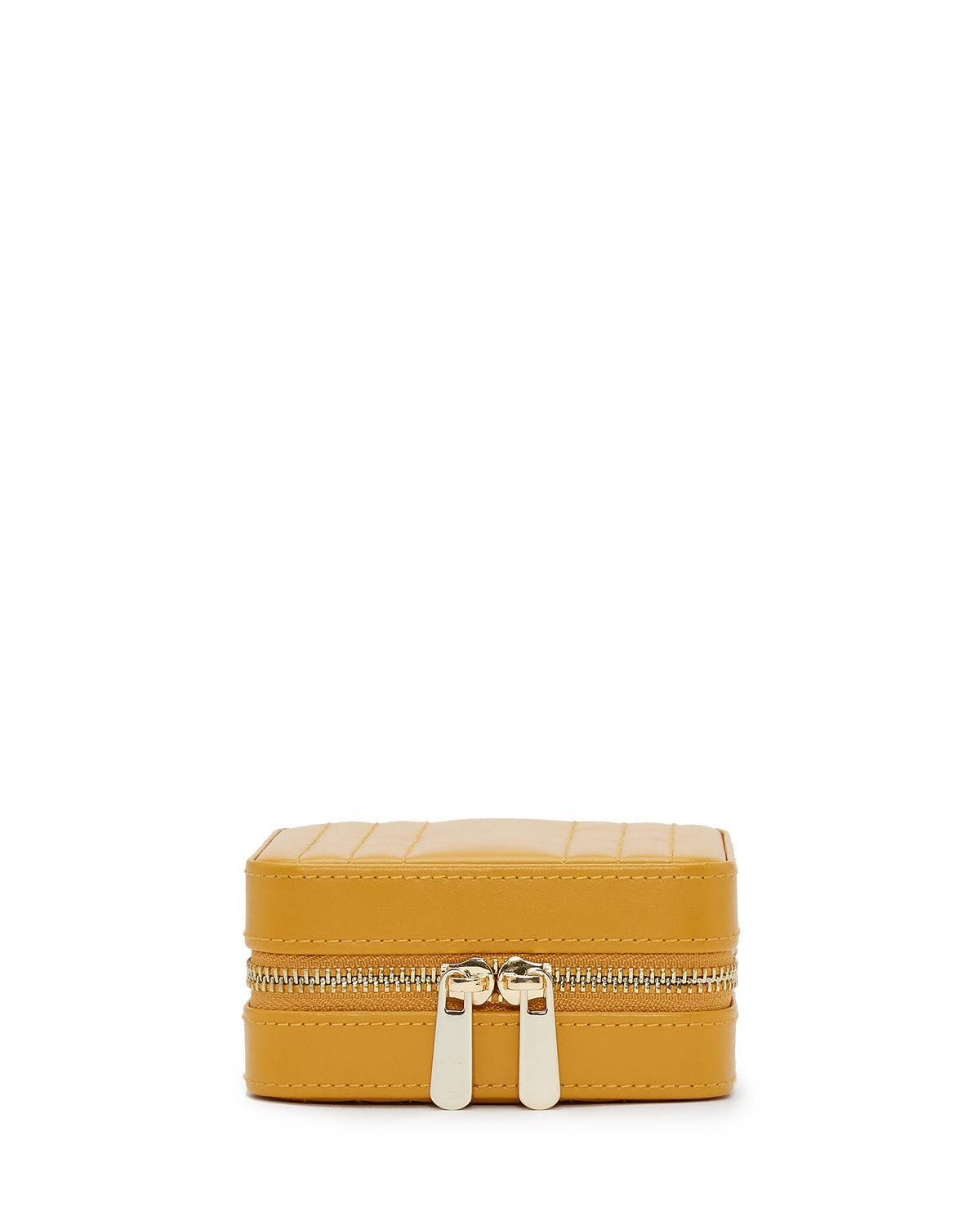 WOLF Maria Square Quilted Zip Jewelry Case - MUSTARD