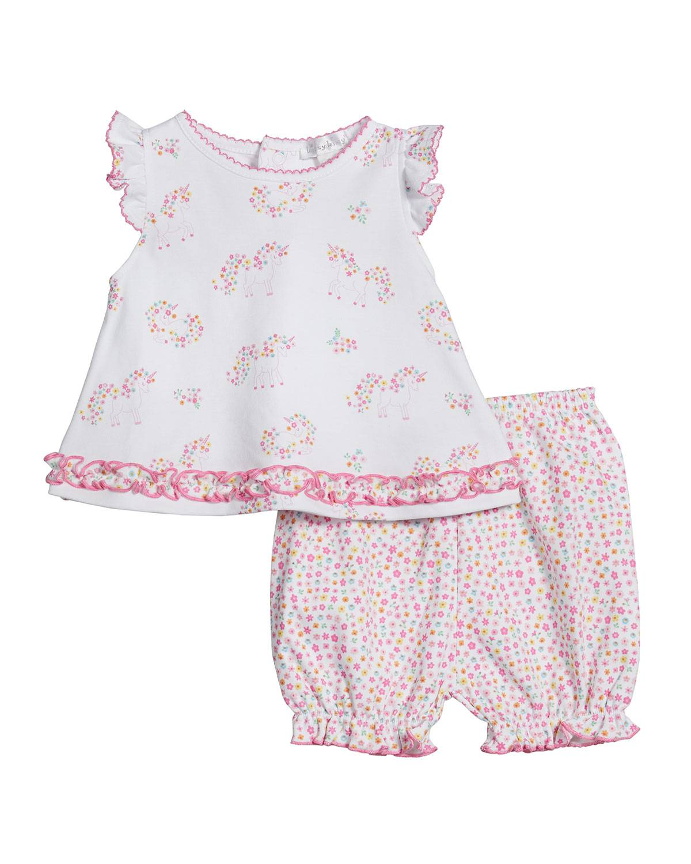 Kissy Kissy Girl's Unicorn Gardens Printed Top w/ Pants, Size 3-24M - Size: 3-6 Months