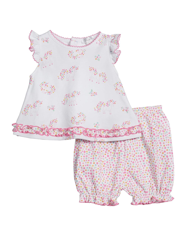 Kissy Kissy Girl's Unicorn Gardens Printed Top w/ Pants, Size 3-24M - Size: 9 Months
