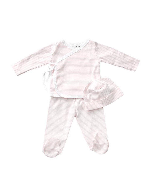 Sammy + Nat Kid's Take Me Home Striped 3-Piece Kimono Set, Size 3-18M - Size: Newborn