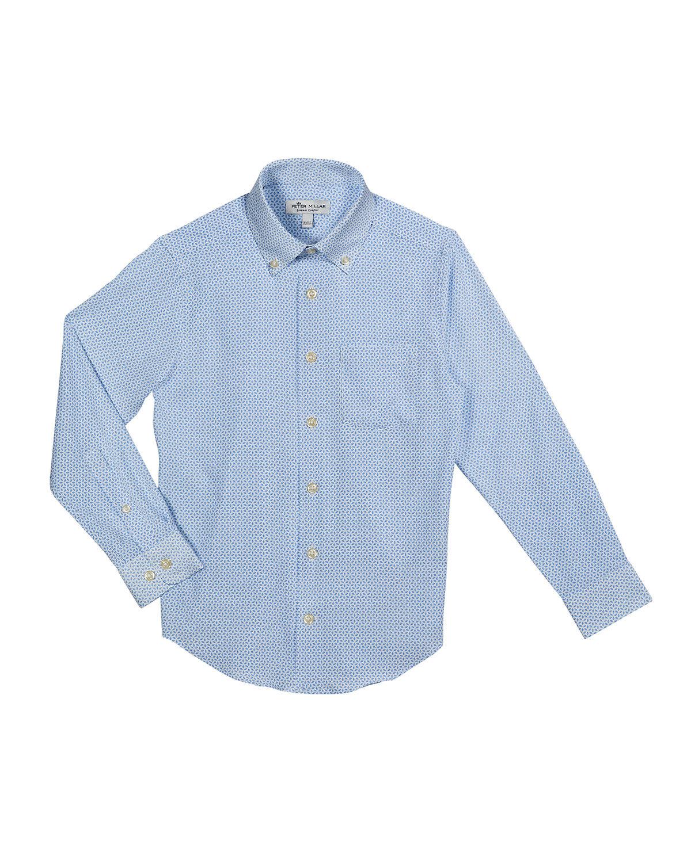 Peter Millar Boy's Crown Sport Poplin Shell-Print Shirt, Size XXS-XL - Size: 2X-Small