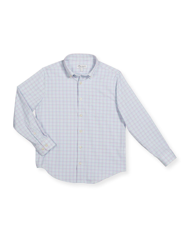 Peter Millar Boy's Crown Sport Windowpane Check Shirt, Size XXS-XL - Size: Large