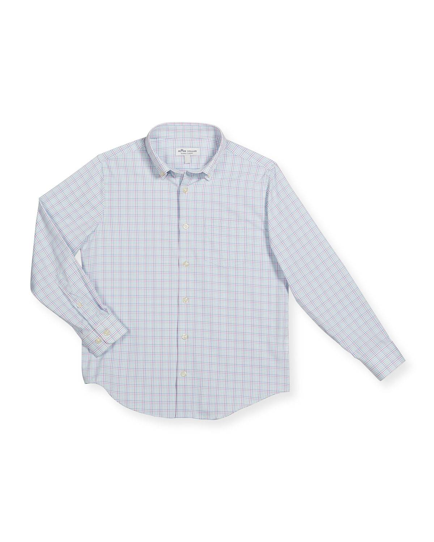 Peter Millar Boy's Crown Sport Windowpane Check Shirt, Size XXS-XL - Size: Extra Large
