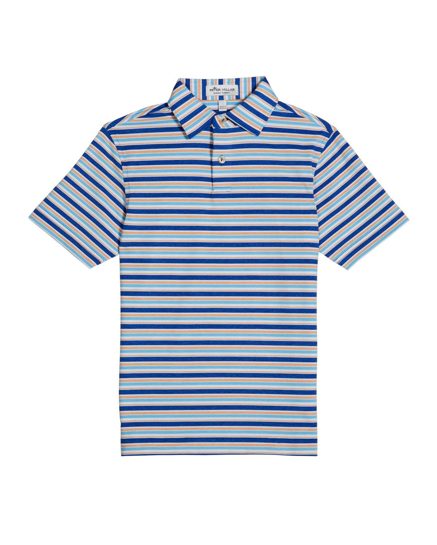 Peter Millar Boy's Crown Sport Multi-Stripe Jersey Polo Shirt, Size XXS-XL - Size: Large