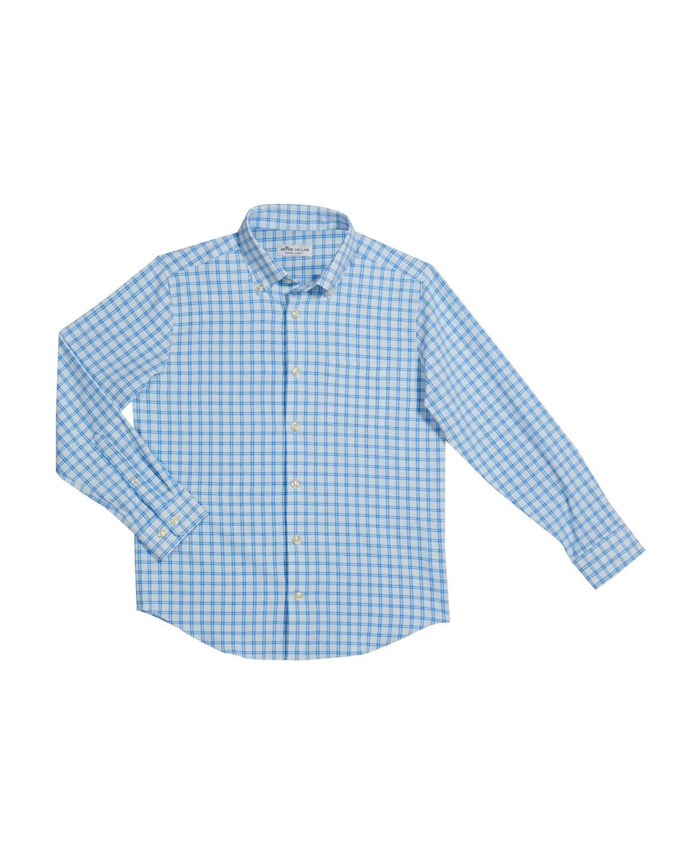 Peter Millar Boy's Crown Sport Poplin Check Performance Shirt, Size XXS-XL - Size: Large
