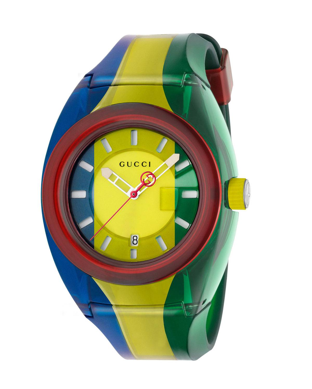 Gucci 46mm Gucci Sync Sport Watch w/ Rubber Strap, Blue/Yellow