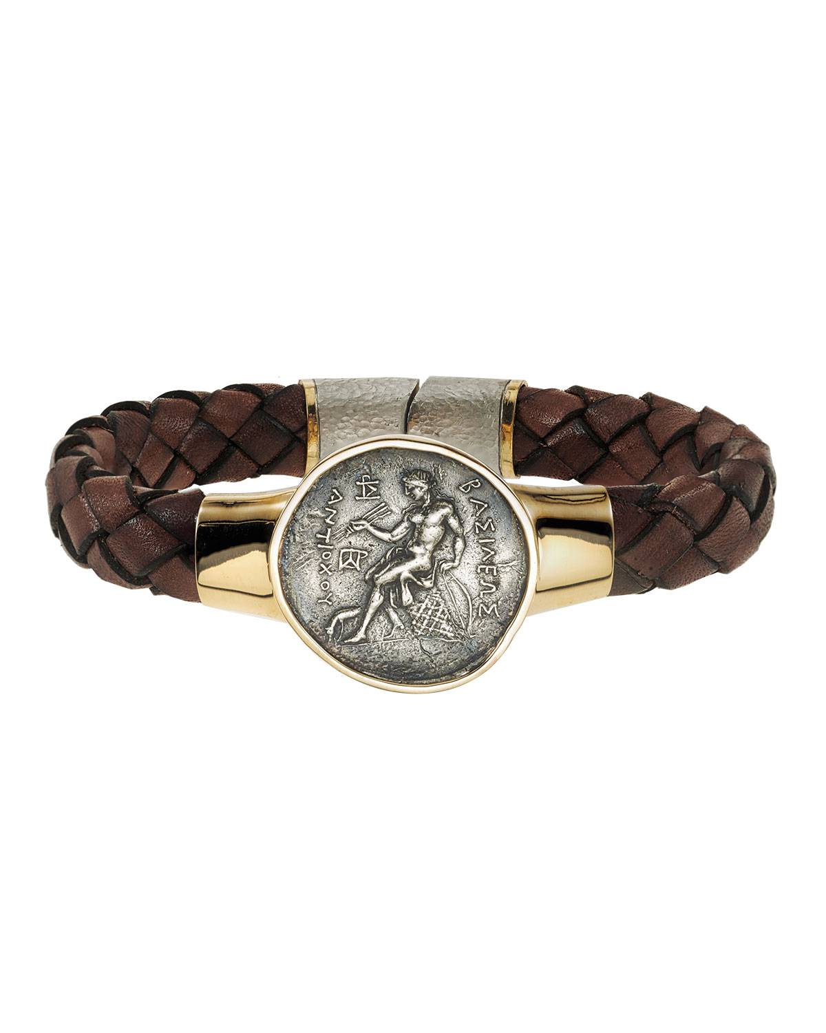 Jorge Adeler Men's Ancient Apollo Coin Braided Leather Bracelet