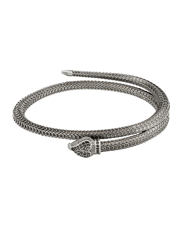 Gucci Men's Garden Snake Aged Silver Wrap Bracelet